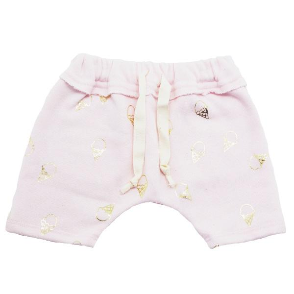 oh baby! Mini Jogger Shorts - All Over Gold Foil Ice Cream Cones - Pale Pink