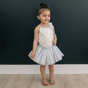 oh baby! Frill Tutu Powder Blue Over Ivory Tulle