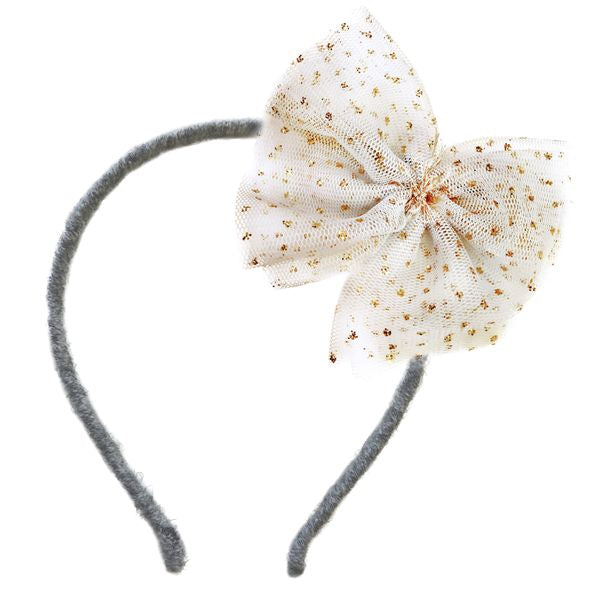 oh baby! Glinda Bow Gray Yarn Headband - Ivory/Gold