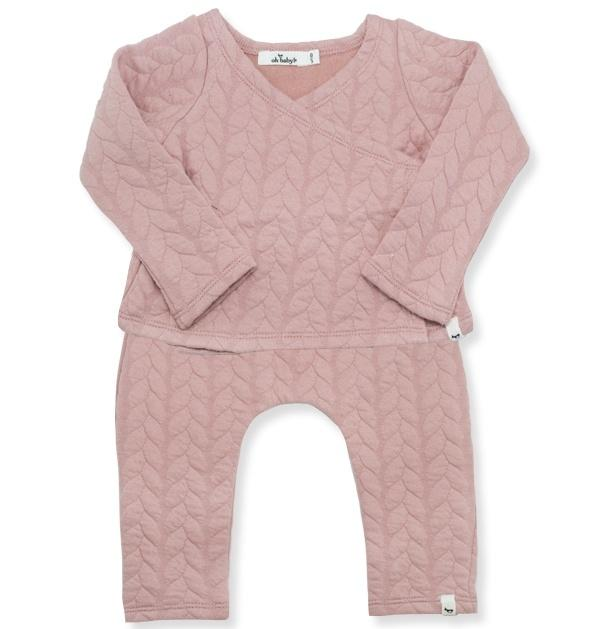 Quilted Cable Kimono Jogger Set - Blush