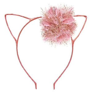 oh baby! Kitty Headband Rose Gold - Blush/Gold Yarn Pom