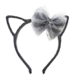 oh baby! Fuzzy Kitty Ears Headband Charcoal with Charcoal Glinda Bow