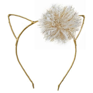 oh baby! Kitty Headband Gold - Cream/Gold Yarn Pom