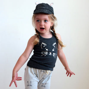 oh baby! Brooklyn Mini Jogger - Charcoal Kitty Face Shorts - Oatmeal - oh baby!