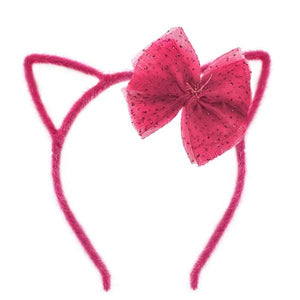 oh baby! Fuzzy Kitty Ear Headband Fuchsia with Fuchsia Glinda Bow