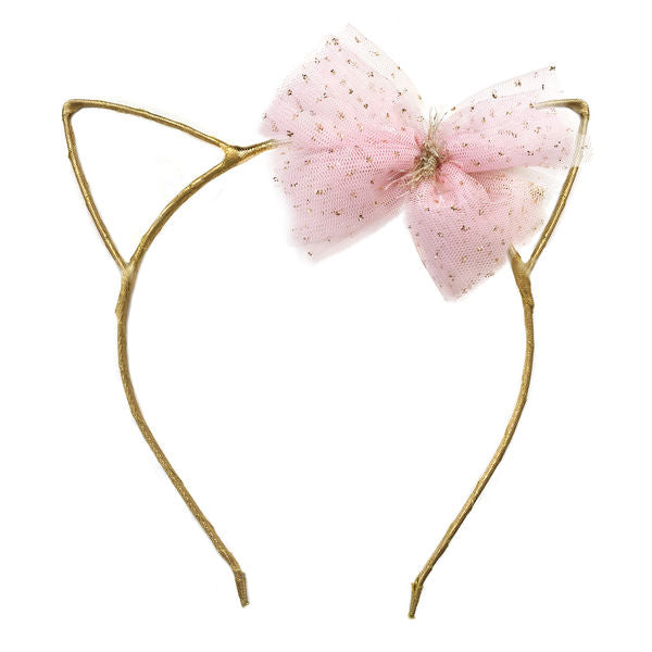 oh baby! Kitty Headband Gold - Pale Pink Bow