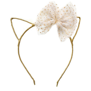 oh baby! Kitty Headband Gold - Ivory Glinda Bow