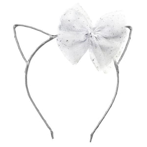 oh baby! Kitty Headband Silver - White Bow
