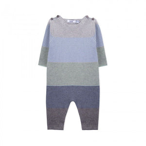 Cashmere Knitted Striped Romper - Blue