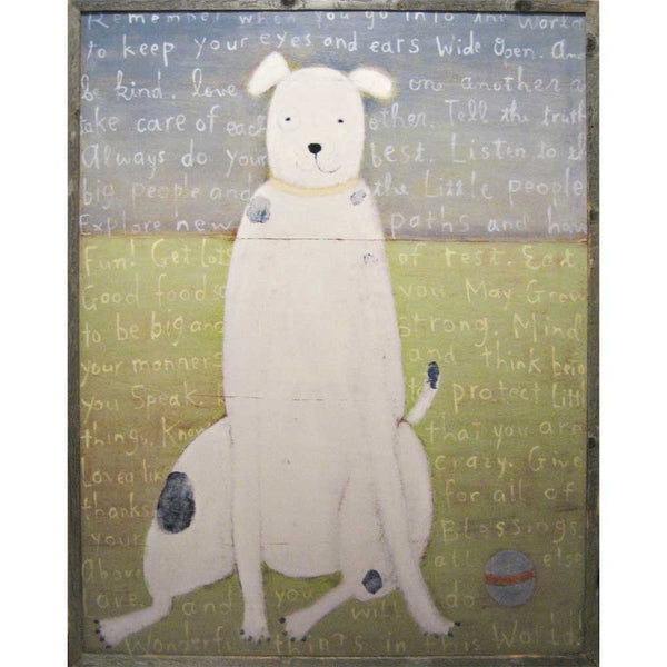 White Dog Vintage Framed Art Print - oh baby!