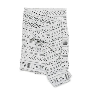 Loulou Lollipop - Muslin Swaddle Blanket - White Mudcloth