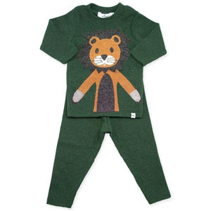oh baby! Two Piece Set - Leo Lion Caramel  - Forest Green