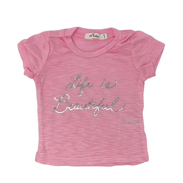 "oh baby! Short Sleeve Bamboo Slub Tee - ""Life is Beautiful"" Silver - Candy Pink"