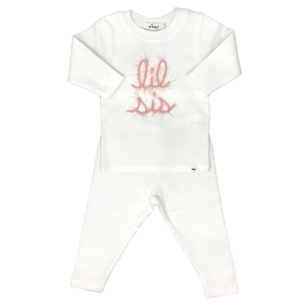 oh baby! Two Piece Set - Lil Sis in Blush Pink/Gold Yarn - Cream