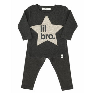 "oh baby! Two Piece Set - ""lil bro"" Star Patch - Charcoal"