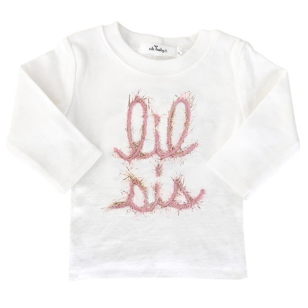 "oh baby! Long Sleeve Top - ""Lil Sis"" in Yarn - Pink/Gold - oh baby!"