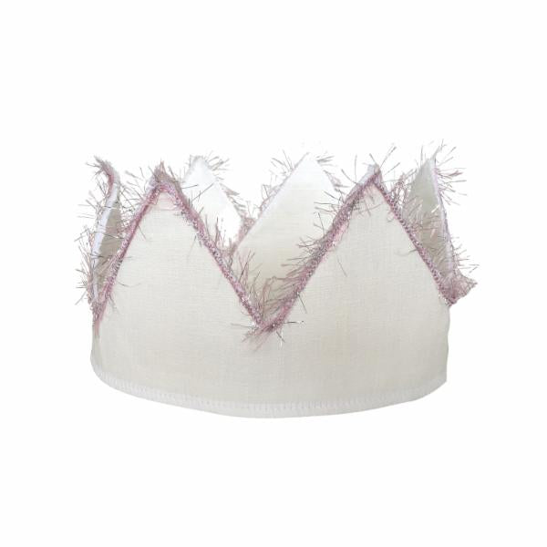 oh baby! Oyster Linen Crown with Pink/Silver Trim - Infant