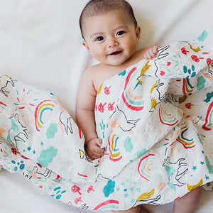 Clementine Kids - Single Swaddle Blanket - Unicorn Land - oh baby!