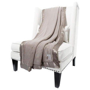 Little Giraffe Luxe Faux Fur Throw Blanket - Taupe