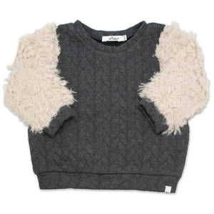 oh baby! Quilted Cable Sweatshirt with Sand Llama Sleeves, Charcoal