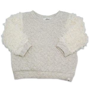 oh baby! Quilted Cable Sweatshirt with Cream Llama Sleeves, Oatmeal