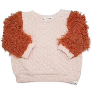 oh baby! Quilted Cable Sweatshirt with Rust Llama Sleeves, Pale Pink