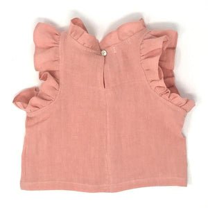 oh baby! Lola Washed Linen Girls Top - Peony
