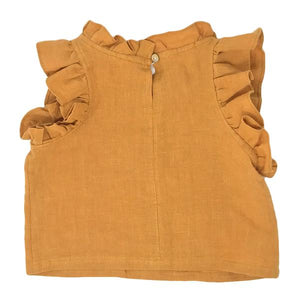 oh baby! Lola Strawberry Washed Linen Girls Top - Butterscotch