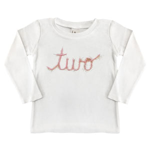 "oh baby! Long Sleeve Top ""two"" in Yarn - Pink/Gold"