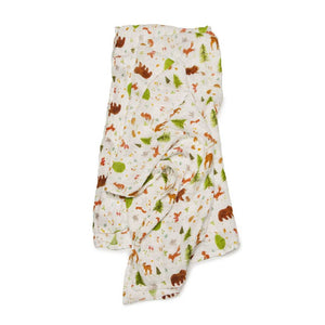 Loulou Lollipop - Muslin Swaddle Blanket- Forest Friends - oh baby!