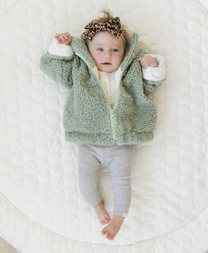 oh baby! Tahoe Lamb Fur Infant Jacket, LOVE  - Sea Multi
