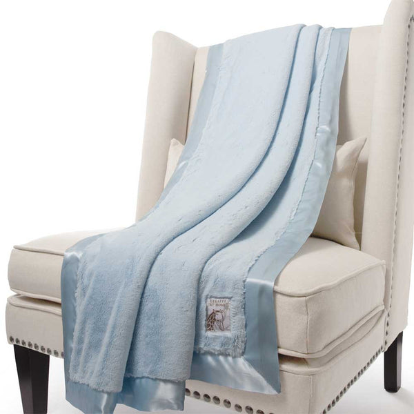 Little Giraffe Luxe Faux Fur Throw Blanket - Blue - oh baby!
