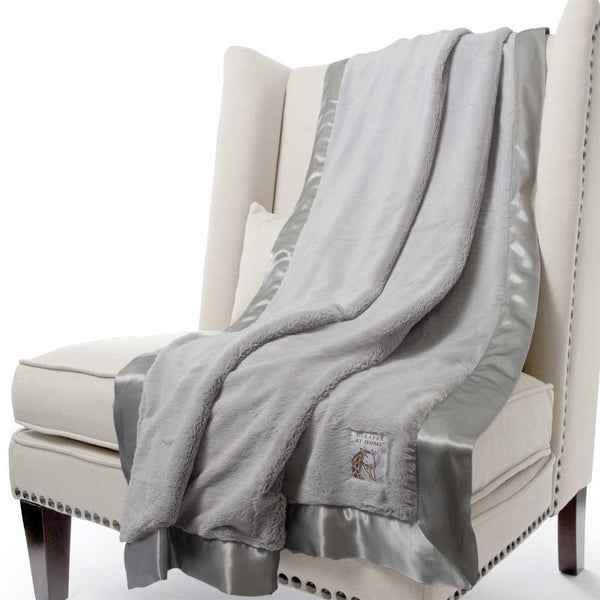 Little Giraffe Luxe Faux Fur Throw Blanket - Silver - oh baby!