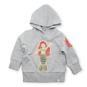 oh baby! Pullover Hoodie - Mermaid Patch - Gray Heather