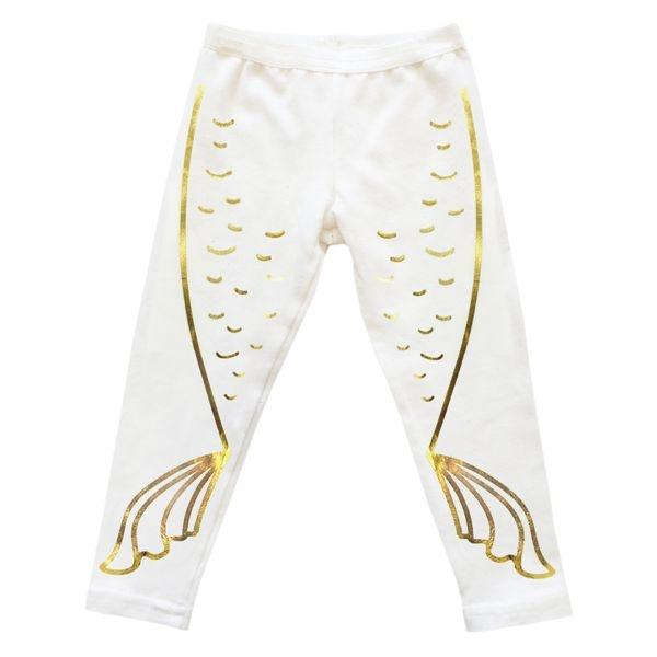 e5e9a100a1f35 oh baby! Mermaid Tail Gold Foil Leggings - Cream   oh baby!