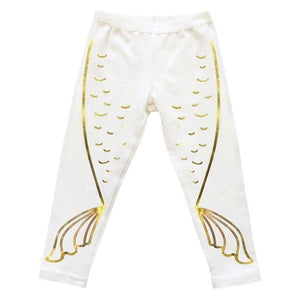 oh baby! Mermaid Tail Gold Foil Leggings - Cream