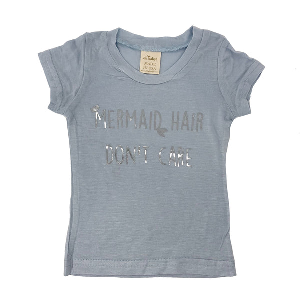 "oh baby! Short Sleeve Bamboo Slub Tee - ""Mermaid Hair Don't Care"" Silver - Powder Blue"