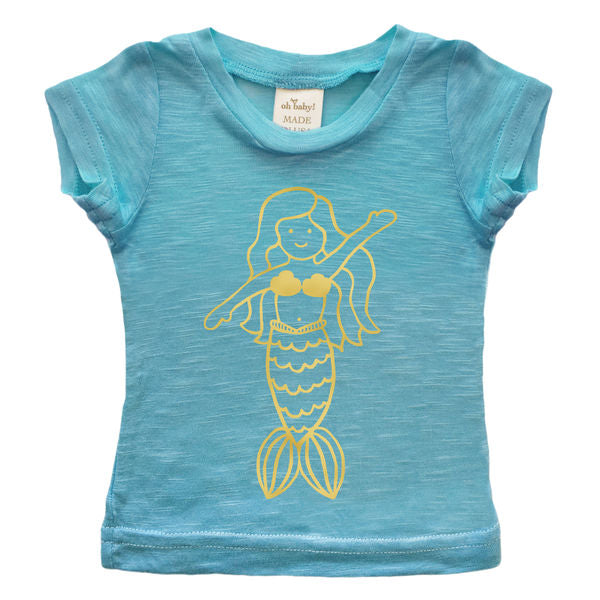 oh baby! Short Sleeve Slub Top - Mermaid - Blue/Gold