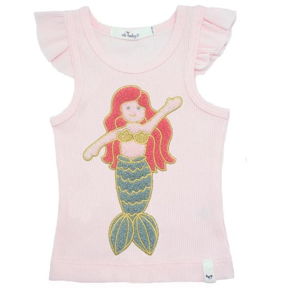 oh baby! Tank Top - Mermaid Girl Chenille Patch - Pink