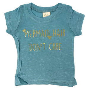 "oh baby! Short Sleeve Bamboo Slub Tee - ""Mermaid Hair Don't Care"" Gold - Blue"