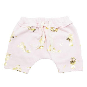 oh baby! Mini Jogger Shorts - All Over Gold Foil Mermaids - Pale Pink