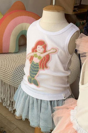oh baby! Tank Top - Mermaid Girl Chenille Patch - White