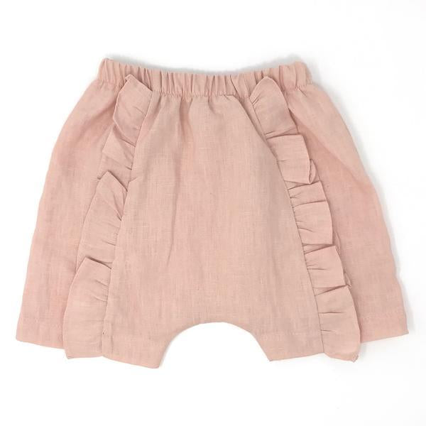 oh baby! Millie Ruffle Linen Infant Shorts - Blush