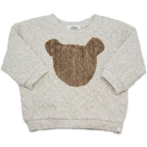 oh baby! Brooklyn Boxy Quilted Cable, Minky Bear, Oatmeal Heather