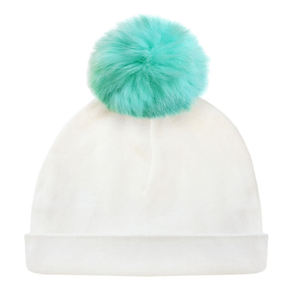 oh baby! Hat - Fur Pom - Cream/Mint