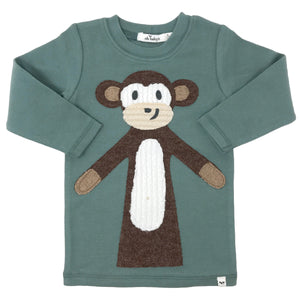 oh baby! Brown Monkey Long Sleeve Tee - Sea