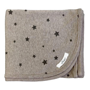 oh baby! Screen Printed Layette Blanket - All Over Stars - Mushroom