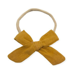 oh baby! School Girl Bow Linen Nylon Headband - Medium Bow - Mustard