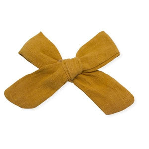 oh baby! School Girl Bow Linen Clip Large - Mustard