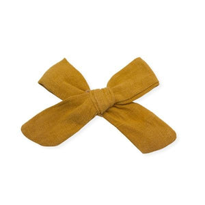 oh baby! School Girl Bow Linen Hair Clip Medium - Mustard